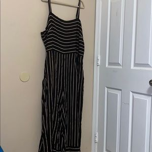 Forever 21 Plus Stripped Wide Leg Jumpsuit